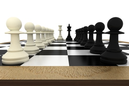 face off: White and black pawns facing off with king and queen on white background