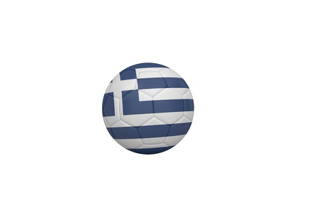 Football in greece colours on white background photo