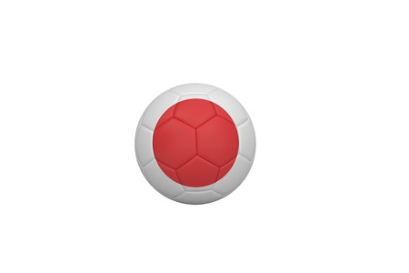 Football in japan colours on white background photo
