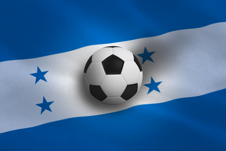 Black and white football against honduras flag background photo