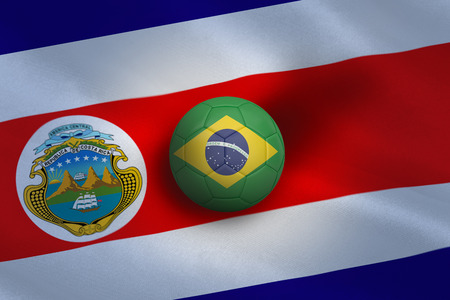 Football in brasil colours against costa rica flag background photo