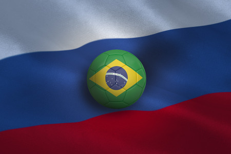 Football in brasil colours against russia flag background photo