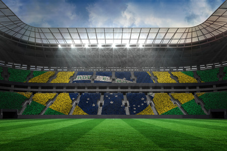 Digitally generated large football stadium with brasilian fans photo