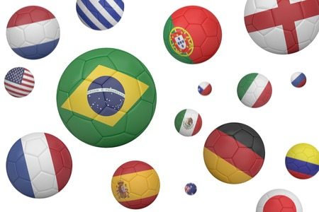 Footballs in various flag colours on white background photo