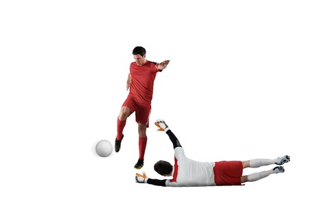 Football players tackling for the ball on white background Stock Photo - 29067143