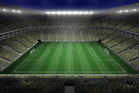 goalpost: Digitally generated large football stadium with lights