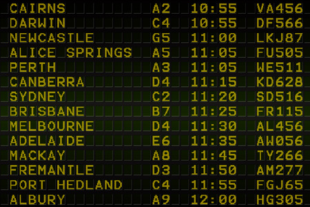 Digitally generated black airport departures board for australia Stock Photo