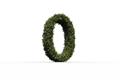numeracy: Zero made of leaves on white background