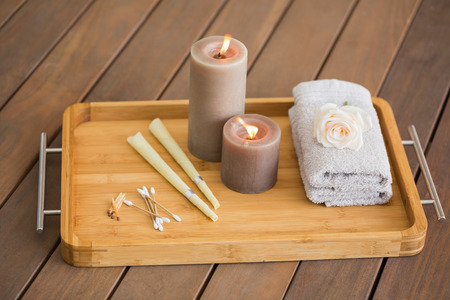 Tray of ear candling equipment at the spa Фото со стока