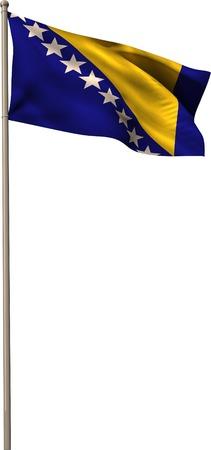 bosnian: Bosnian national flag waving on pole on white background Stock Photo