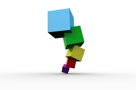wobbly: Pile of 3d colourful cubes on white background