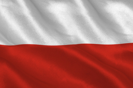 rippling: Digitally generated polish flag rippling filling screen