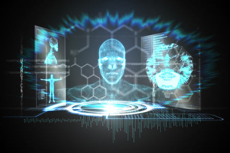 Digitally generated medical interface in blue and black Stock Photo