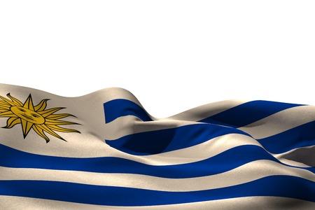 uruguay flag: Digitally generated uruguay flag rippling on white background Stock Photo