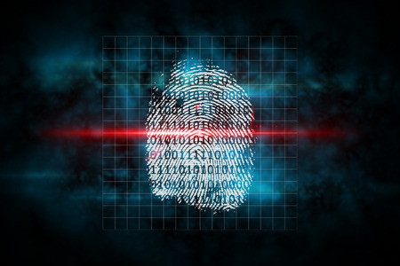 Digital security finger print scan in blue and black Stock Photo