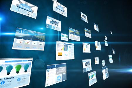 digital composite: Digital composite of screens showing business advertisement on blue