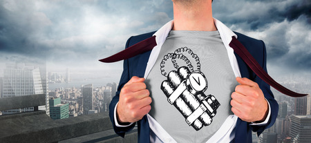 Businessman opening shirt in superhero style against balcony overlooking city photo