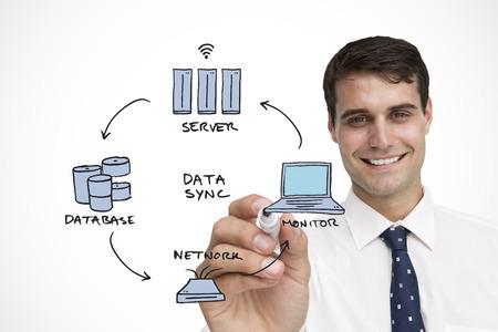 sync: Businessman writing data sync words on white background Stock Photo