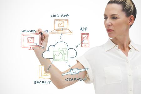 Businesswoman writing web words on white background photo