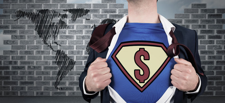 Businessman opening shirt in superhero style against world map doodle against wall photo