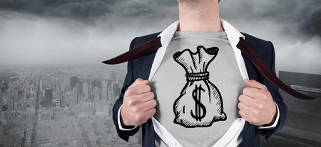 Composite image of businessman opening shirt in superhero style against gloomy city photo