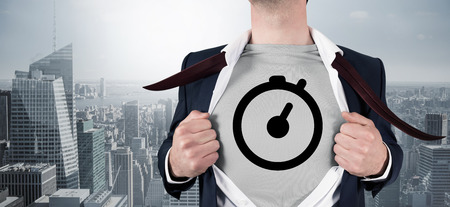 career timing: Composite image of businessman opening shirt in superhero style against cityscape