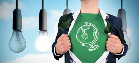 Businessman opening shirt in superhero style against five light bulbs in row photo