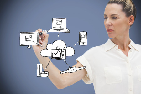 Composite image of businesswoman writing graphic against grey vignette photo