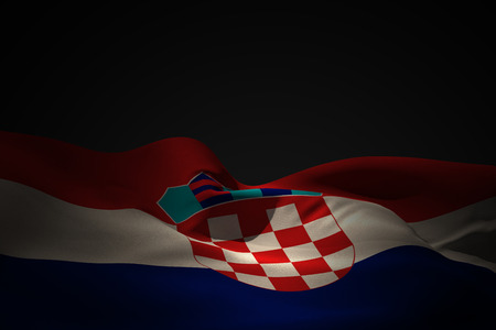 Croatia flag waving against black shadow photo