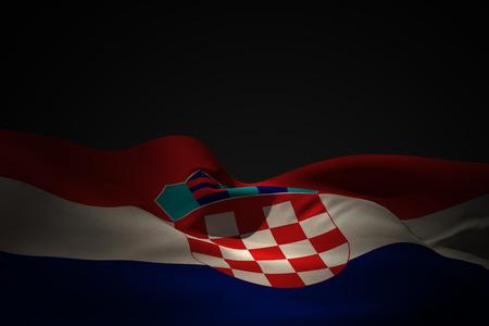 bandiera croazia: Croazia bandiera sventola contro ombra nera