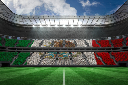 world sport event: Digitally generated mexican national flag against large football stadium