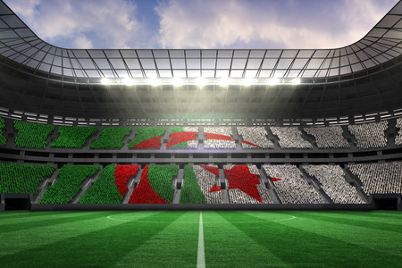 Algerian flag against large football stadium photo