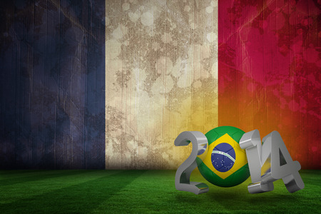Brazil world cup 2014 against france flag in grunge effect photo