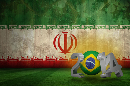 Brazil world cup 2014 against iran flag in grunge effect photo