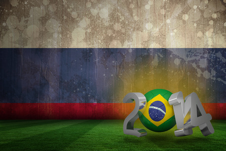 Brazil world cup 2014 against russia flag in grunge effect photo