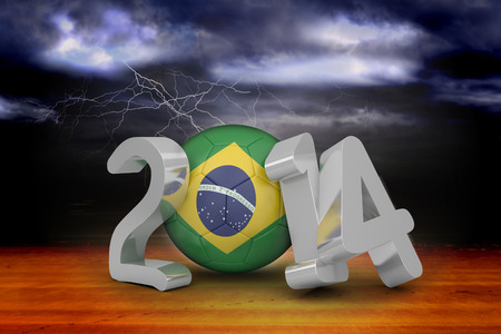 Brazil world cup 2014 against stormy sky over desert with lightning