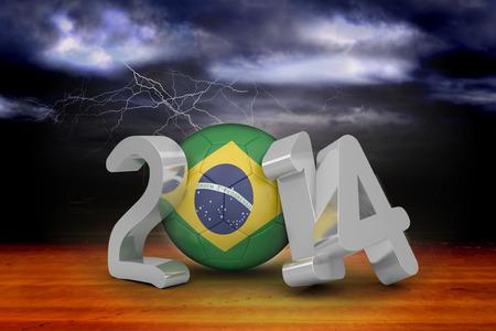 desert storm: Brazil world cup 2014 against stormy sky over desert with lightning