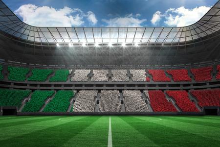 Digitally generated italian national flag against large football stadium