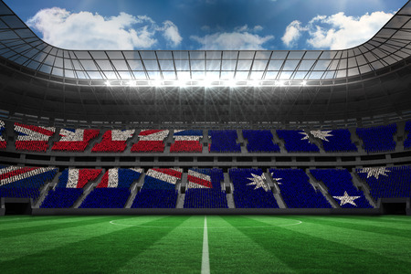 Australian flag against large football stadium  photo