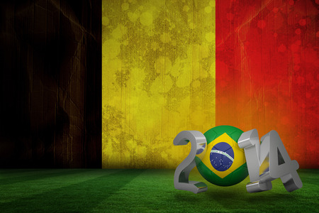 Brazil world cup 2014 against belgium flag in grunge effect photo