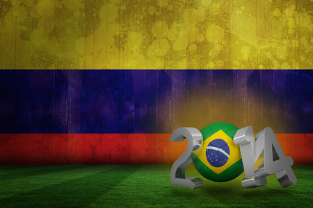 Brazil world cup 2014 against colombia flag in grunge effect photo