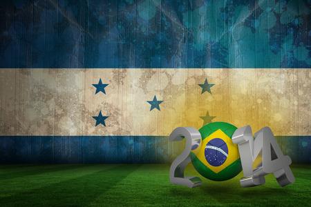 Brazil world cup 2014 against honduras flag in grunge effect photo