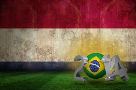 Brazil world cup 2014 against netherlands flag in grunge effect photo