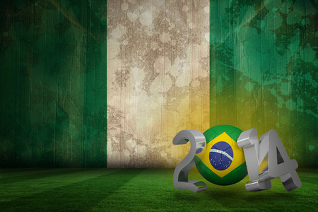 Brazil world cup 2014 against nigeria flag in grunge effect photo