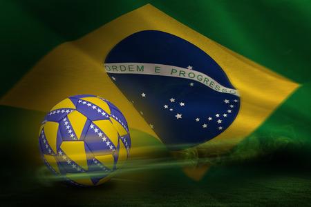 bosnian: Football in bosnian colours against brazilian flag waving
