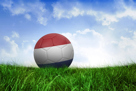 Football in holland colours on field of grass under blue sky photo
