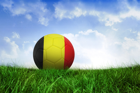 Football in germany colours on field of grass under blue sky photo