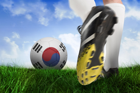 Composite image of football boot kicking korea republic ball against field of grass under blue sky photo
