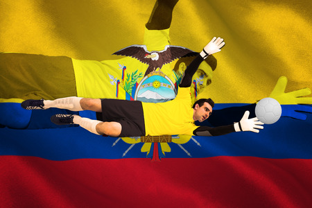 making a save: Goalkeeper in yellow making a save against digitally generated ecuador national flag