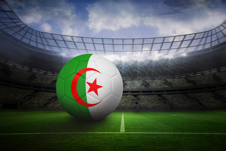 Football in algeria colours in large football stadium with lights photo